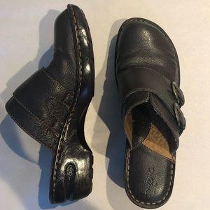 BOC Leather Brown Slide On Clogs